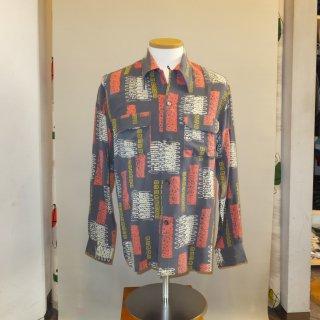 Vintage Atomic Print Style Box Shirt L/S Pink & Grey