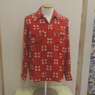 Vintage Atomic Print Style Box Shirt Red L/S