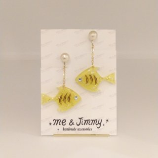 Lemon Angelfish Cotton Pearl Earring