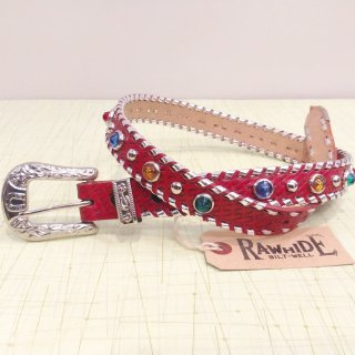 Mallory Belt Deadstock Red/Silver Lace