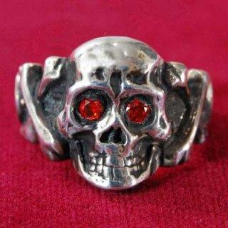 Sparkle Eyes Skull Ring SILVER