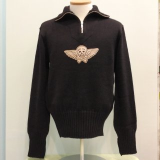 1940s Motorcycle Wool Knit with Skull Patch
