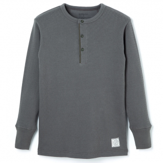 Henley Neck Thermal -Gray-