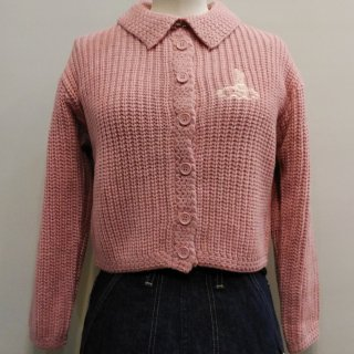 1950s Style Mischief Knit Sweater / Peach, Orange, Red