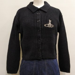 1950s Style Mischief Knit Sweater / Black, Ivory