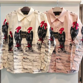 "Print Open Shirt ""CONDOR"" (Pink/Cream)"