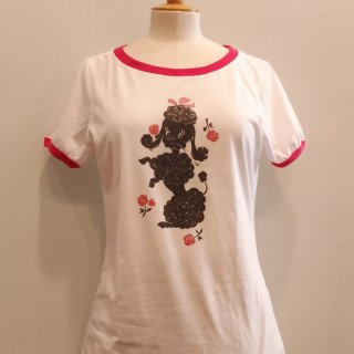 Poodle with Roses Ringer T-shirt