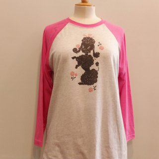 Poodle with Roses 3/4-Sleeve Raglan T-Shirt