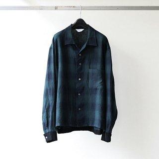 THEE - rib shirts jacket (GREEN OMBRE CHECK)