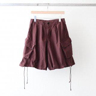 foof - over dye cargo shorts (burgundy)