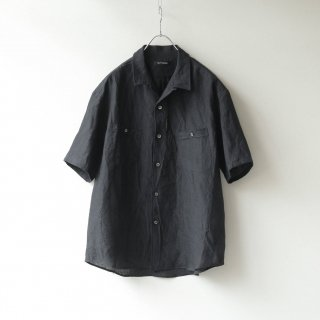 tilt The authentics - Round Pocket Open Collar Shirt (Black)