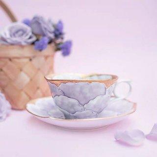 文山窯 牡丹(紫) −輪花− カップ&ソーサー
