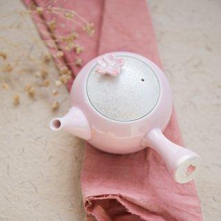 有田焼 田清窯 薄ピンク釉虹彩桜急須 煎茶 プレート