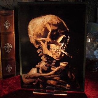 アートグラスフレーム ヴァンゴッホ タバコを銜えたスケルトン Art Glass Van Gogh - Skeleton w/Cigarette