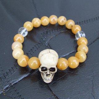 スカルダディー 髑髏数珠ブレス アラゴナイト(S)