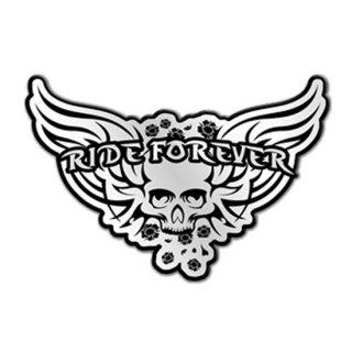 スカルメタルピンバッチ Ride Forever Skull Pewter Biker