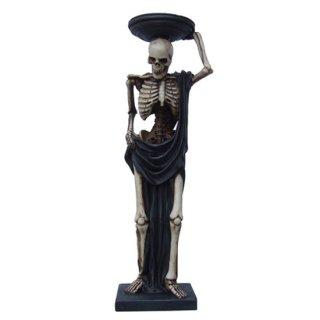 ゴシックスケルトンスタチュー(像)&キャンドルホルダー Gothic Skeleton Statue Tea Light Candle Holder