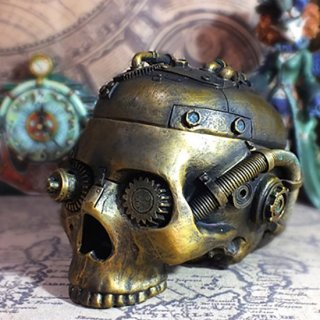 スチームパンクスカル トリンケットボックス Steampunk Skull trinket box
