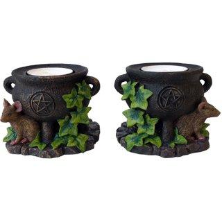 大釜・マウスキャンドルホルダー2P Twin Cauldron's with Mouse Candleholders