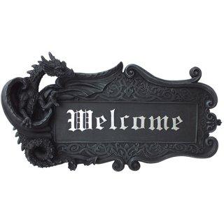 ゴシックドラゴン ウエルカムサイン ハンギングプラーク Gothic Dragon Welcome Sign Wall Plaque