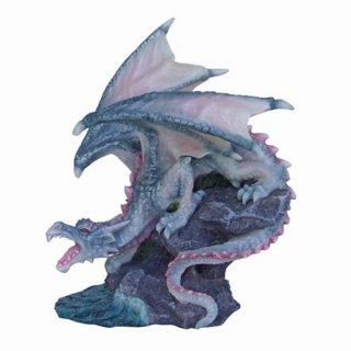 ドラゴンフィギュア(像)Gray Ormarr Dragon On The Rock