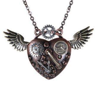 スチームパンク ハートウィングネックレス Steampunk Heartwing Necklace