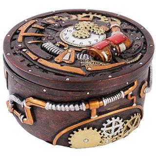 スチームパンクギア ラウンドボックス Steampunk Geared Round Trinket Box