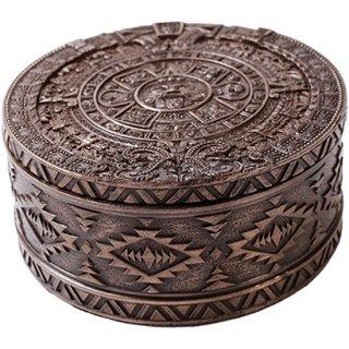 マヤ文明 アステカ(暦石)カレンダー ラウンドボックス ブロンズ Aztec Bronze Round Trinket Box