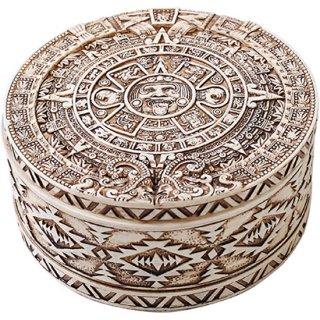 マヤ文明 アステカ(暦石)カレンダー ラウンドボックス ホワイト Aztec White Round Trinket Box