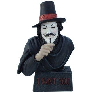 ガイ・フォークス(アノニマス) バスト スタチュー Guy Fawkes Bust「I Want You」