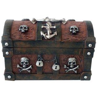 パイレーツスカル チェスト スカルボックス(海賊宝箱) Wooden Pirate Skull Treasure Chest Box