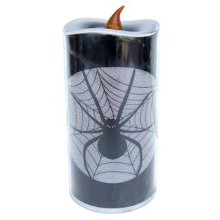 グリッターピラーキャンドル スパイダー Glitter Pillar 6In Candle Spider