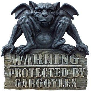 ガーゴイル 警告サイン ハンギングプラーク Gargoyle Warning Plaque Protected by Gargoyles