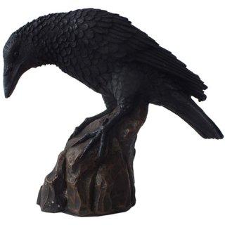 レイヴン スタチュー(像) カラスの置物 Raven on rocky Statue 8729