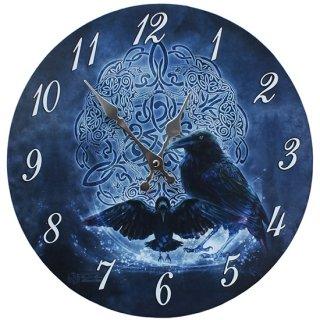 セルティックレイヴン ウォールクロック Celtic Raven Wall Clock Art by Brigid Ashwood