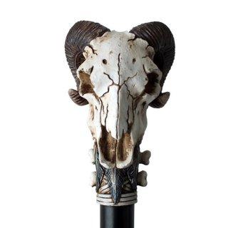 【同梱不可】ネイティブアメリカン ラムホーンスカル ウォーキングステッキ Native Ram Horned Skull Walking Cane