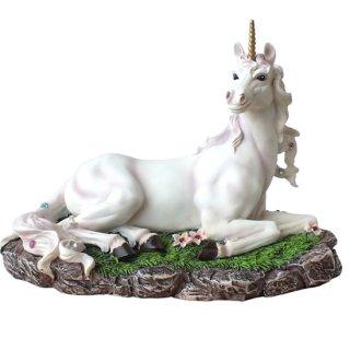 ホワイトユニコーン像 ファンタジーフィギュア White Magical Unicorn Statue Figurine with Flowers