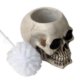 スカルトイレブラシホルダー付きブラシ Skull Toilet Brush Holder