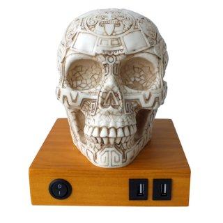 マヤ文明 アステカ(暦石)カレンダー アステカスカルシェード テーブルランプ Aztec Skull Desk Lamp