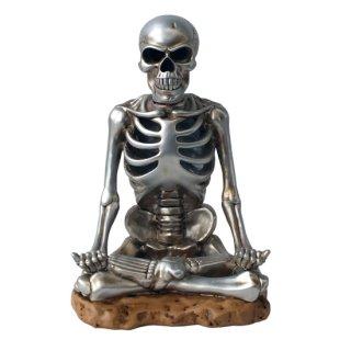 瞑想するメタリックドクロ・スカルオブジェ LEDライト付 Meditation Metallic Skull led illumination Light object