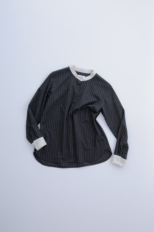 brushed cotton cleric shirt / stripe