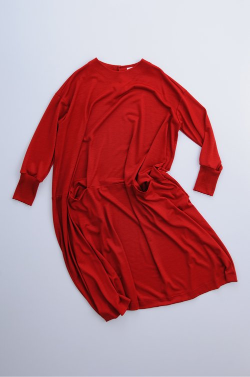 wool knit c&s cocoon one-piece / red