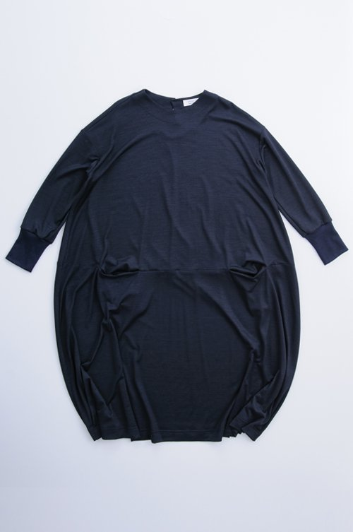 wool knit c&s cocoon one-piece / navy