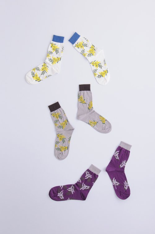 cotton ~mimoza~ middle socks