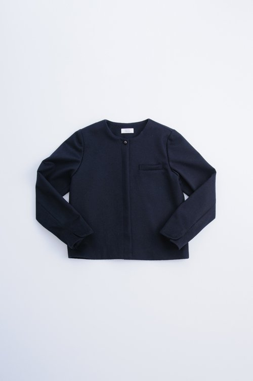 beaver wool no collar jacket / navy