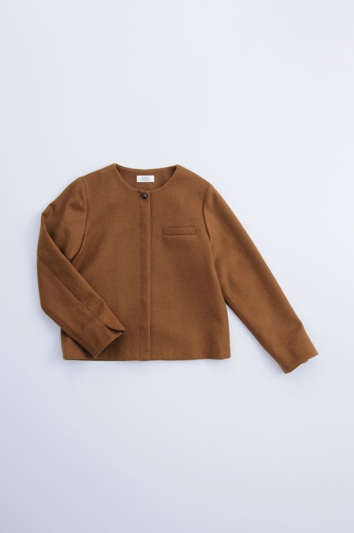 beaver wool no collar jacket / camel
