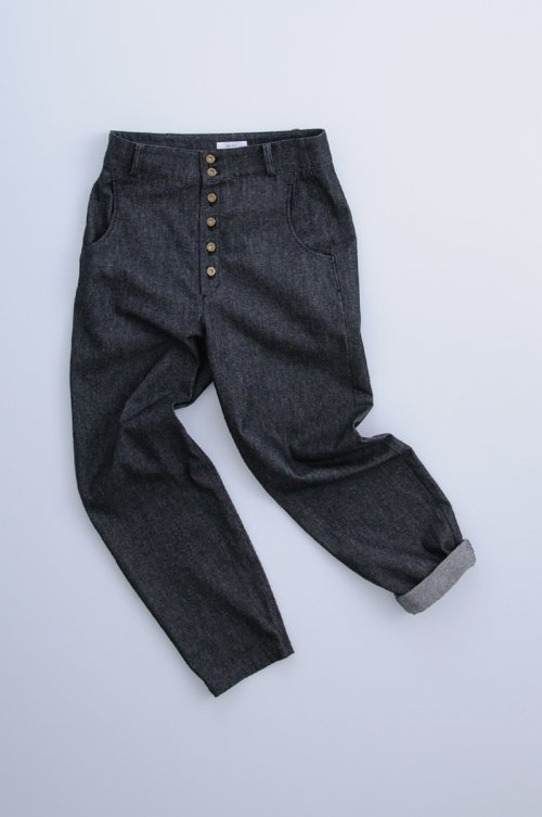 cotton denim peck top pants / black
