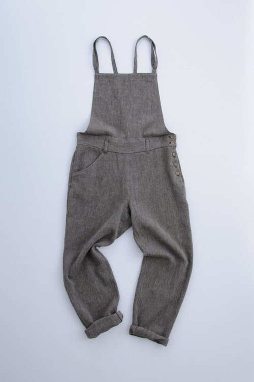 hemp wool salopette pants / black