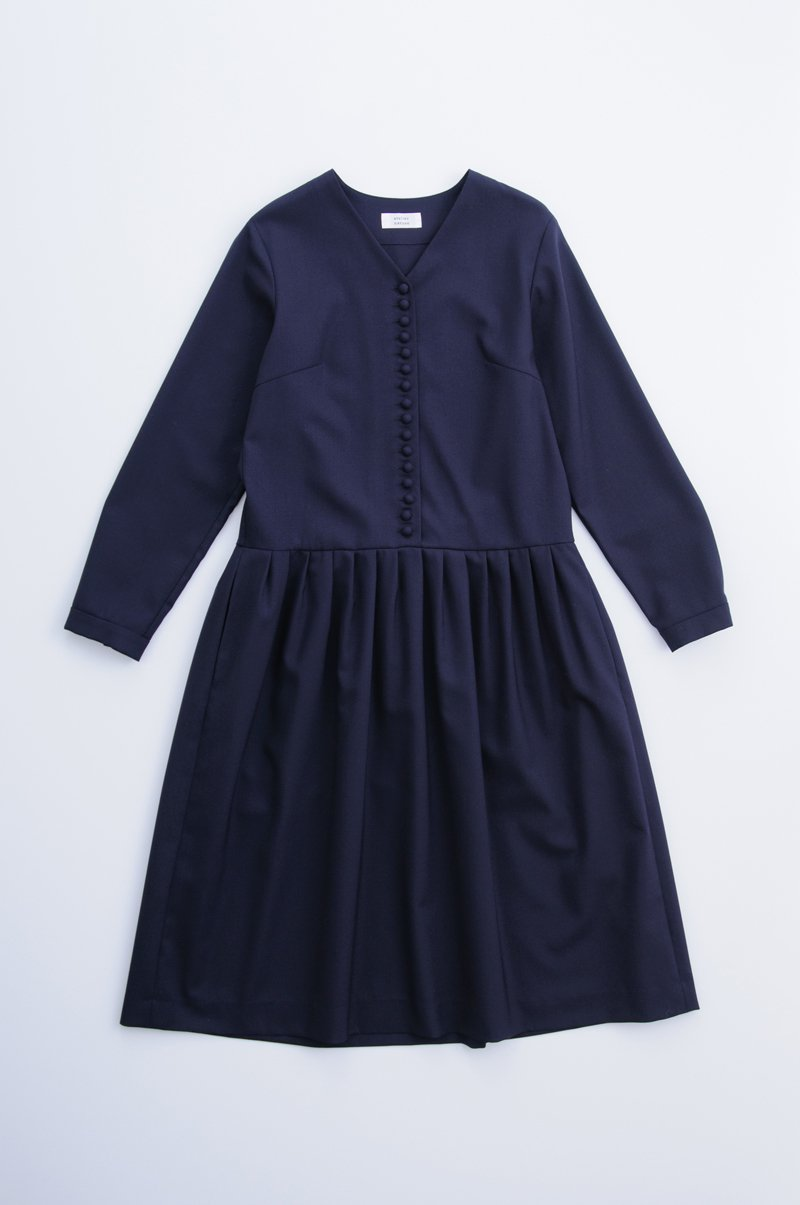kurumi button formal one-piece / navy