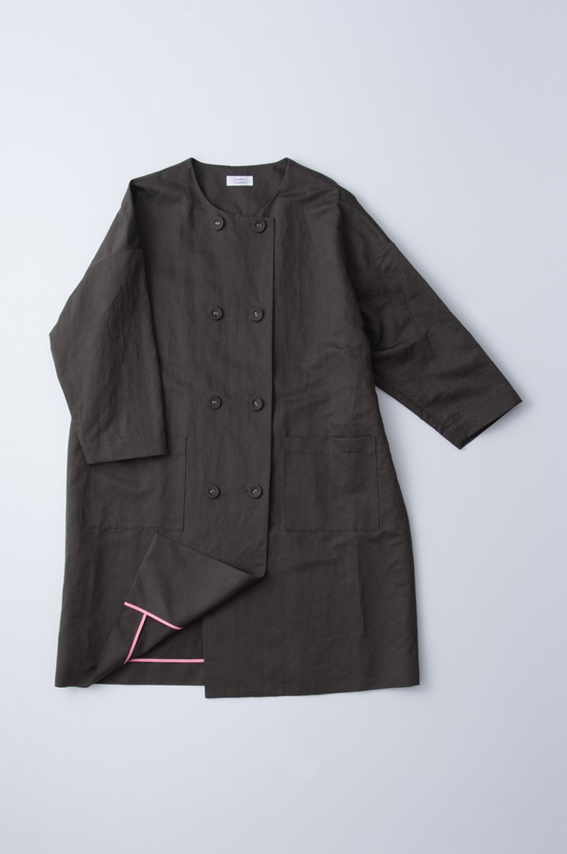 W button spring coat / charcoal